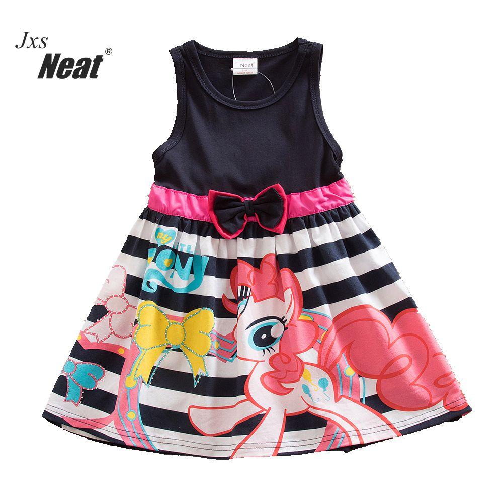 NEAT/Летняя Одежда для девочек без рукавов жилет Дети принт От 4 до 8 лет детская одежда в полоску бабочка платье для малышей SH5698