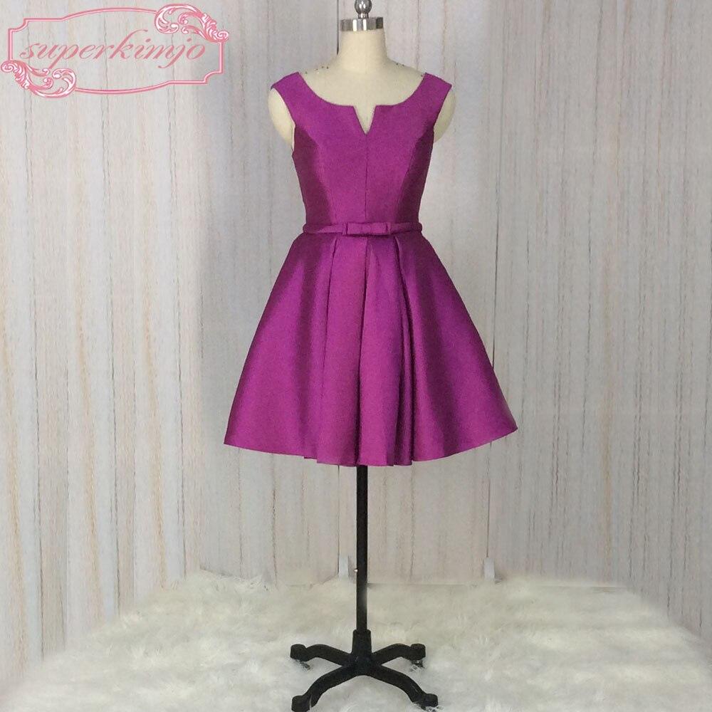 SuperKimJo violet robes De demoiselle d'honneur courtes robes De fête De mariage 2018 élégant pas cher Junior Vestido De Madrinha