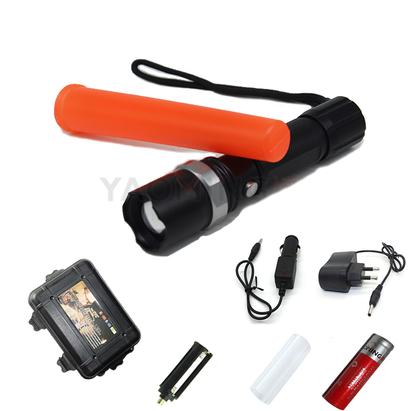 Tactical flashlight set CREE Q5 2000LM traffic baton police equipment led torch lantern lamp + 18650 battery charger gift box