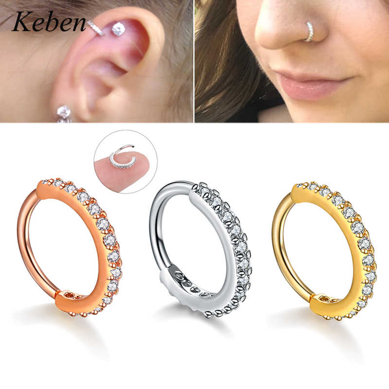 1PC Hoop Earring Silver And Gold Color Cz Nose Hoop Helix Cartilage Earring Daith Snug Rook Tragus Ring Ear Piercing Jewelry