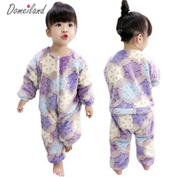2018 New Fashion Brand Domeiland Children Clothing For Girl Sleepwear Cute Print Cartoon Romper Cotton Baby