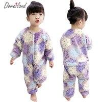 2018 New Fashion Brand Domeiland Children Clothing For Girl Sleepwear Cute Print Cartoon Romper Cotton Baby