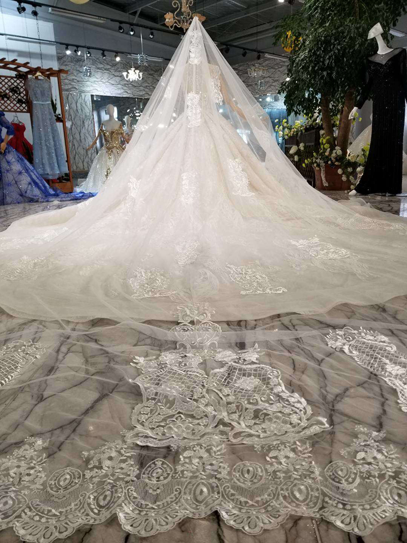 HTL128 luxury material wedding dresses with wedding veil high neck cap sleeve shiny handmade bride dress wedding gown fashion in Wedding Dresses from Weddings Events