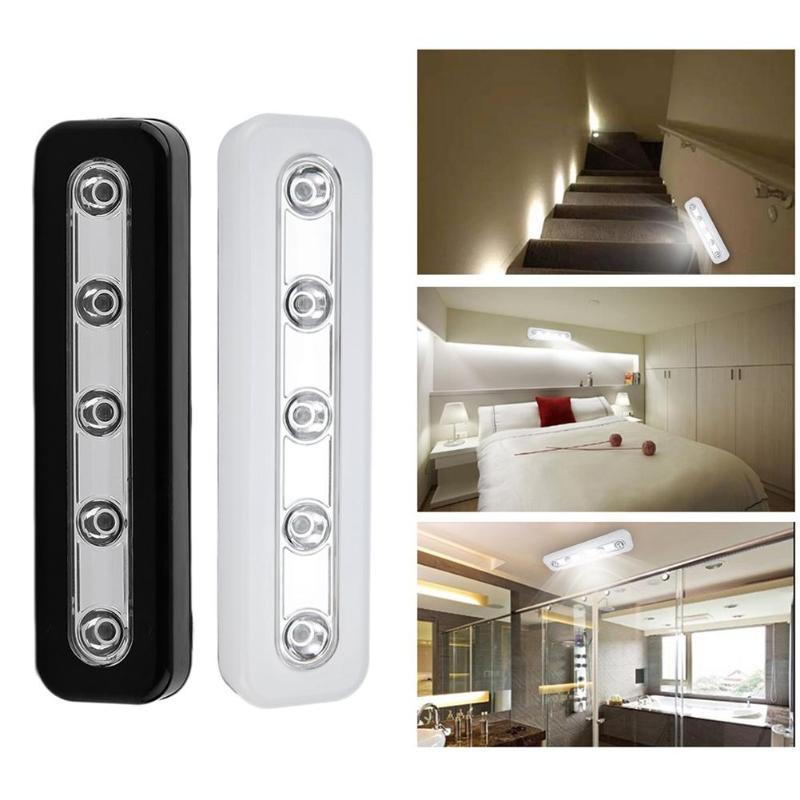 Push Touch Wall Light LED Night Light 5LED Home Lighting Self-Stick Closet Lamp Wall Light Battery Power Kitchen Cabinets
