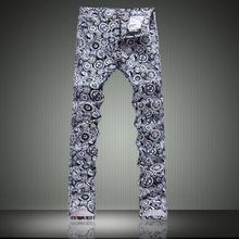 Korean Print jeans male flowers slim pants male trousers pants man made in china jeans trousers