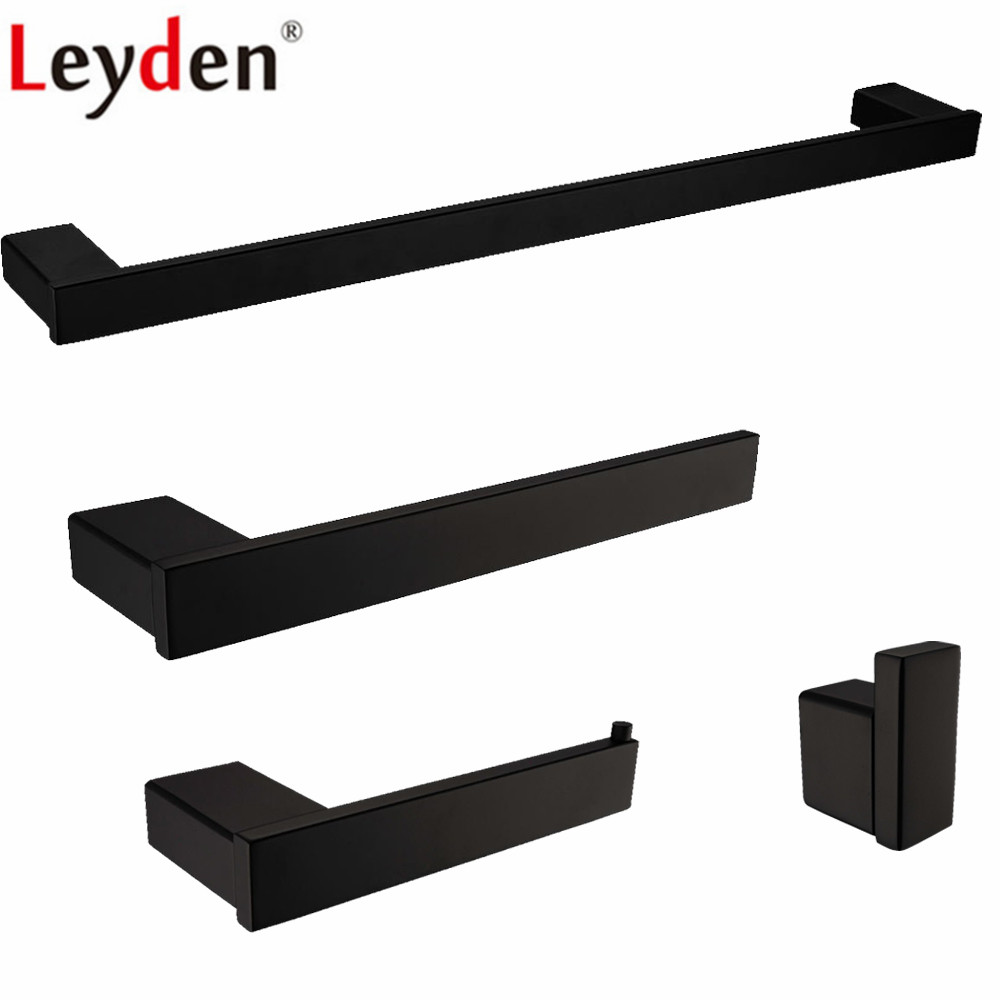 цены Leyden 304 Stainless Steel 4pcs Bathroom Accessories Set Black Single Towel Bar Towel Ring Holder Toilet Paper Holder Robe Hook