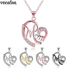 Vecalon Mom Heart Shape Pendants with necklace for Women Mother's Day Gift Wholesale Jewelry 5 colors Silver/Black/Rose Gold(China)