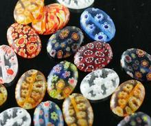 OMH wholesale Red Blue mixed 6 8 10 12mm Flat shape Millefiori round Glass flower Loose glass beads spacer beads ZL72(China)