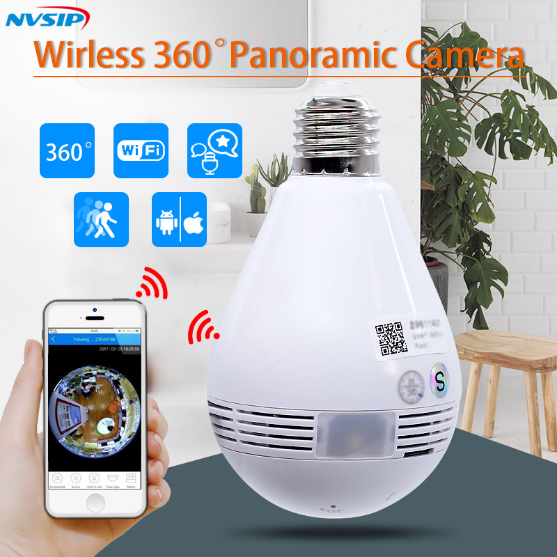 Luz LED 960 P inalámbrica panorámica de seguridad WiFi CCTV de ojo de pez bombilla lámpara IP cámara de 360 grados de visión nocturna
