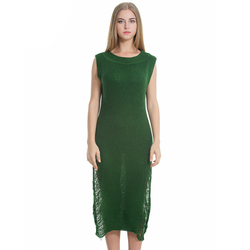 2018 New Fashion Knitted Womens Sweater Dress Sleeveless O-Neck Hollow Out Solid Green Loose Casual Party Night Dresses