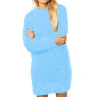 Spring Autumn Women Fashion Warm Sweater Dress Casual Long Sleeve Mini Dresses Vestidos