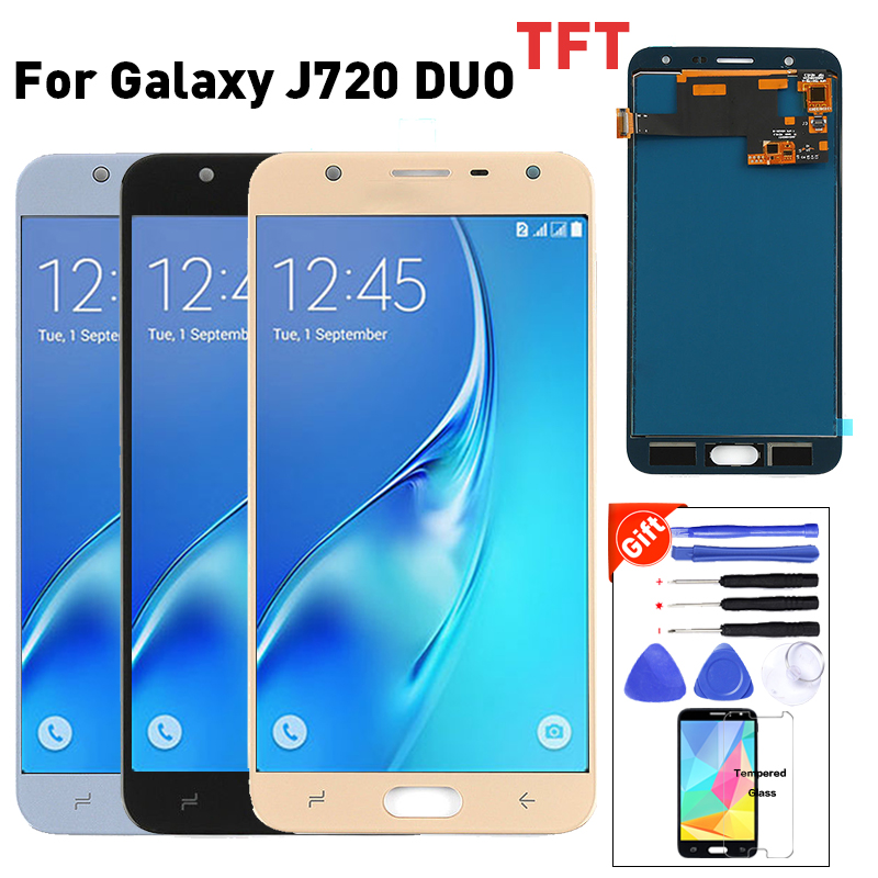 For Samsung Galaxy J7 Duo Display <font><b>J720</b></font> <font><b>LCD</b></font> J720F SM-J720F Display Touch Screen Digitizer Assembly +Glass protector+Tools image