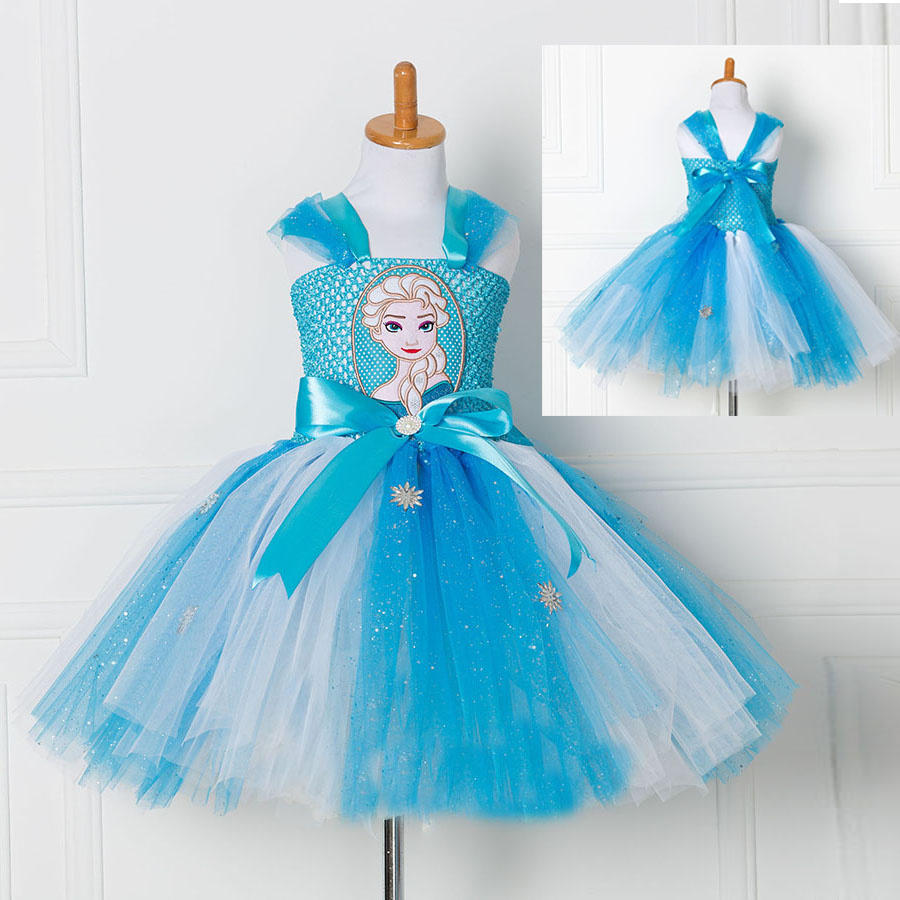 princess anna elsa handmade tulle tutu dress snow queen birthday halloween party vestidos cosplay costume toddler girls age 2 12 in dresses from mother