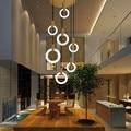 Светодиодная кольцевая люстра  лампа для гостиной  спальни  кухни  лестницы  люстра  освещение  домашний декор  длинная лестница  люстра
