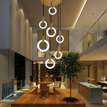 LED Ring Chandelier Lamp Living room Bedroom Kitchen staircase chandelier Lighting Indoor home Decor long stair