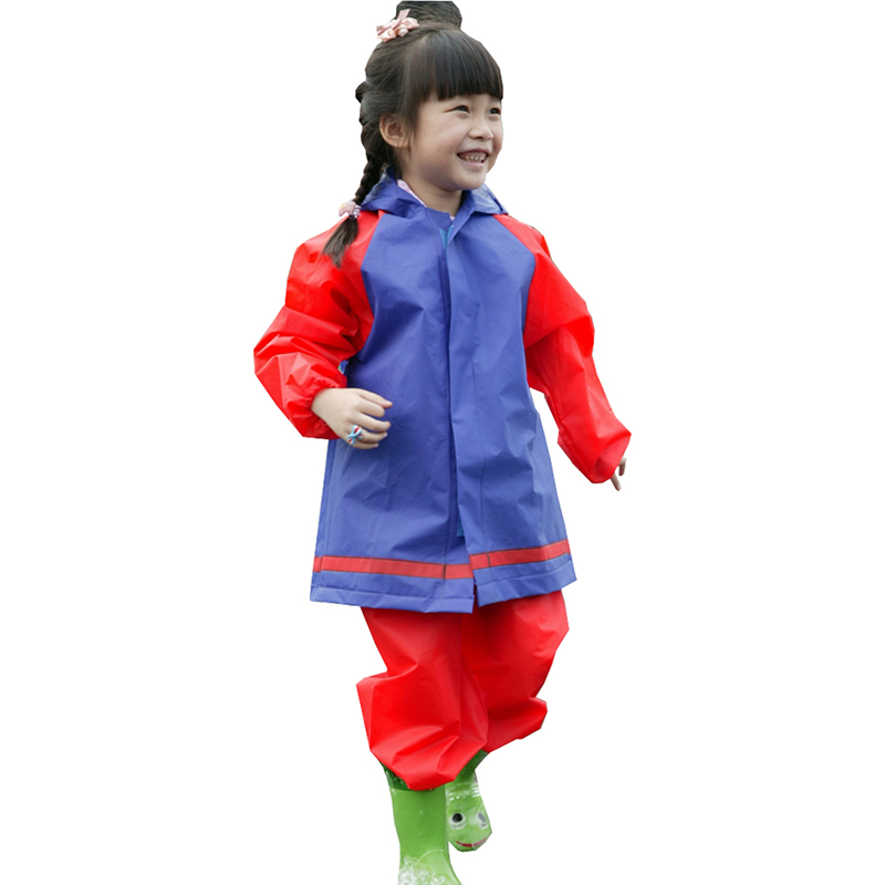 Yuding Kids Rain Coat Pants Children Raincoat Rainwear Rainsuit Kids Waterproof Thick Red blue Splice Color