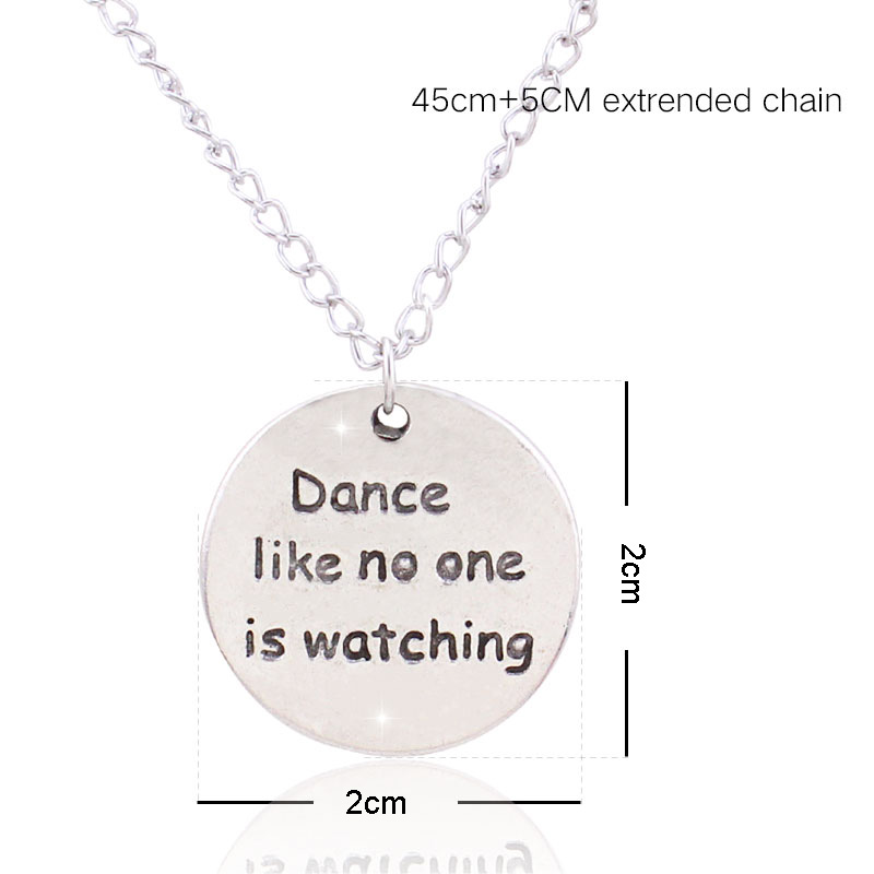 1pc Wholesale Simple Pendant Necklace Scrabble Carved Dance Like No Ones Watching Necklace Dance Jewelry Art Glass Necklace