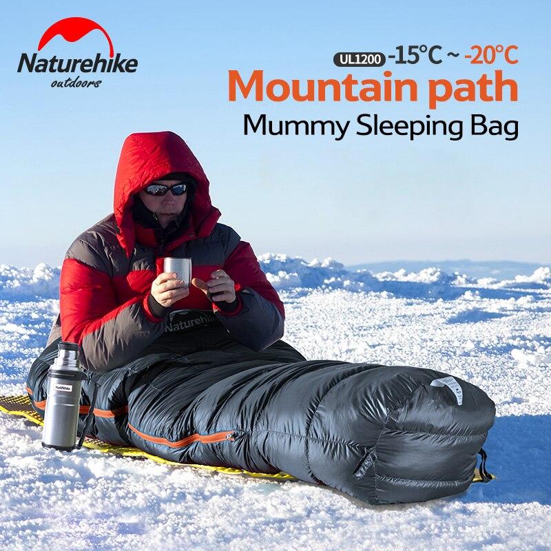 Naturehike Duck Down Sleeping Bag Winter Mummy Camping Sleeping Bag Ultralight Keep Warm Adult Camping Equipment NH17U120-L