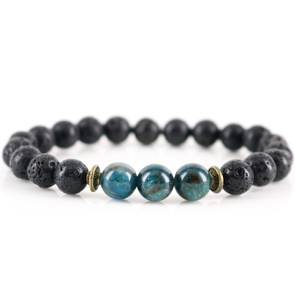 Neue Handgemachte Natürliche Lava Stein Healing Apatit Chakra Meditation Armband Schutz Vulkanischen Emotionale Balance Geschenk für Ihn