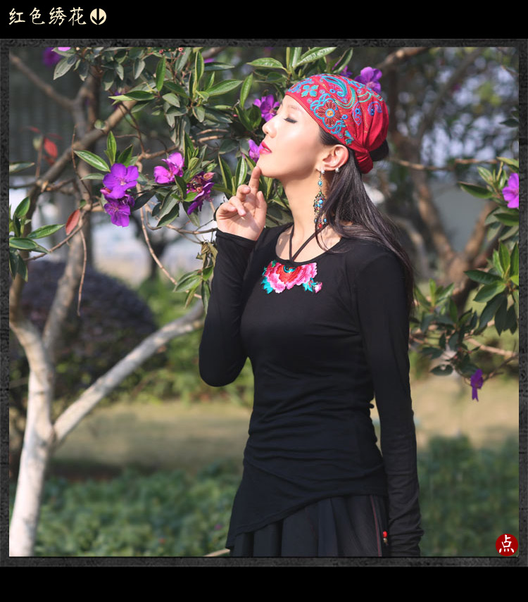 Mexican Style Spring And Autumn Ethnic Vintage Embroidery Flowers Bandanas Original Red Blue Print Hat Cat Free Shipping 14