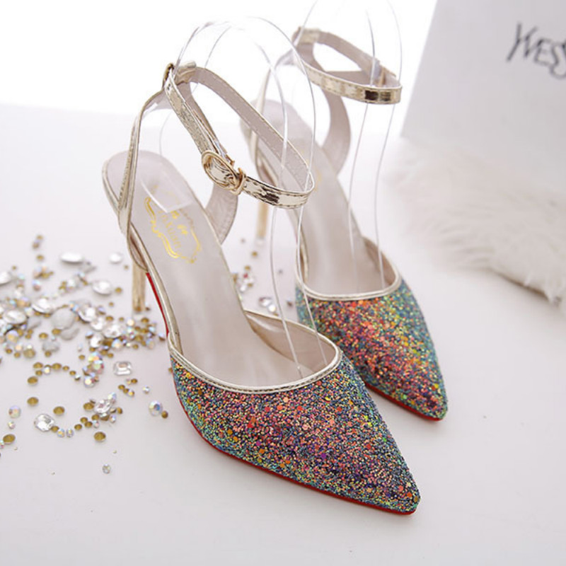 Fashion sexy high heels shoes 2019 spring new shallow mouth high heel pointed stiletto thin feet women 39 s shoes in High Heels from Shoes