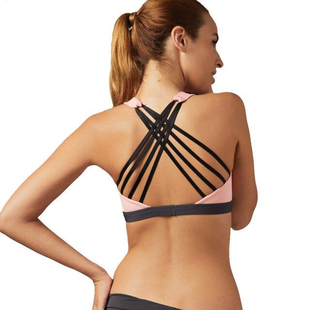 5a46540258996 Online Shop Vertvie Sexy Cross Sport Bra Women Running Fitness Yoga ...