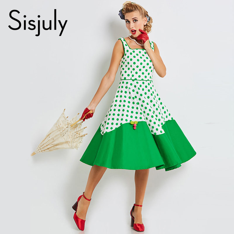 Sisjuly 2018 women vintage dresses pin up polka dots patchwork 1950s retro dress a line cute female sexy vintage new dresses