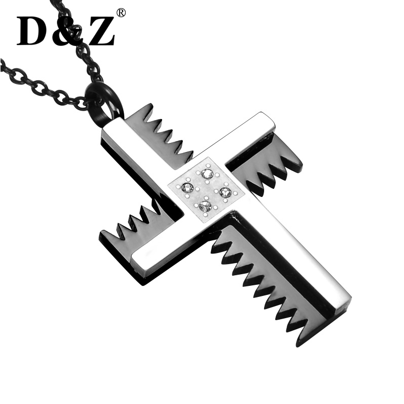 D&Z Religious Silver Chain Gears Jesus Cross Necklace Stainless Steel Pray Charm Choker Crucifix Necklaces Men Jewelry