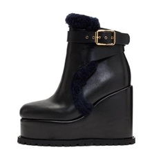 women leather snow boots women wedge heel boot lady round toe height increaseing booties winter fashion lady ankle strap boot genuine leather shark lock boot pointed toe black leather buckle strap winter booties height increasing wedge ankle boots