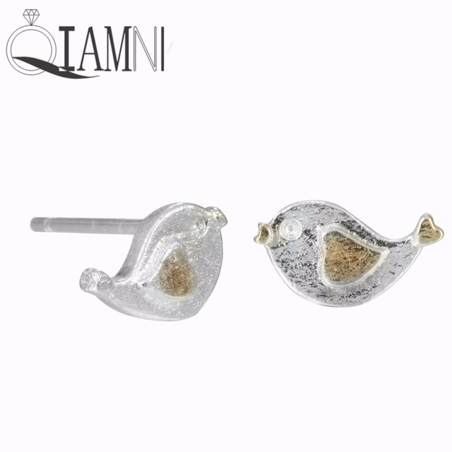 QIAMNI 925 Sterling Silver Lovely Yellow Heart Wing Bird Animal Stud Earrings for Women Girls Pendientes  Christmas Jewelry Gift