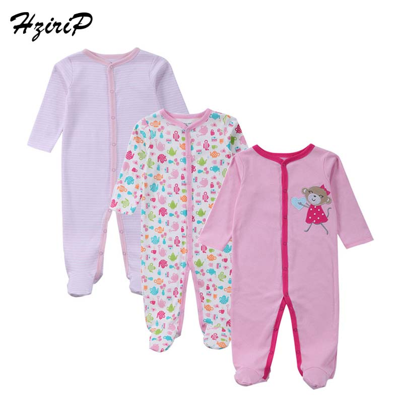 3PCS/lot New Baby Romper Autumn Winter Long Sleeves 100% Cotton Baby Pajamas Cartoon Printed Baby Girls Boys Clothes Fit 0-12M cotton baby rompers set newborn clothes baby clothing boys girls cartoon jumpsuits long sleeve overalls coveralls autumn winter