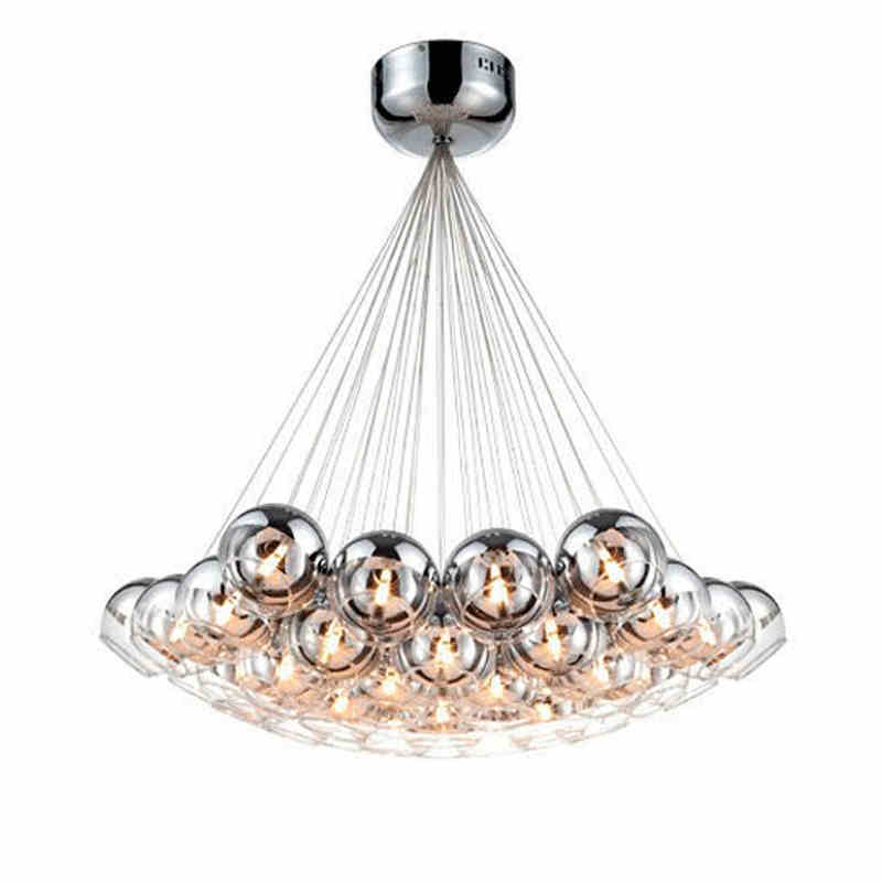 Modern Chrome Glass Balls LED Pendant Chandelier Light For Living Dining Study Room Home Deco G4 Hanging Chandelier Lamp Fixture furnishings brief modern k9 crystal flower pendant light fixture european fashion home deco living room diy glass pendant lamp