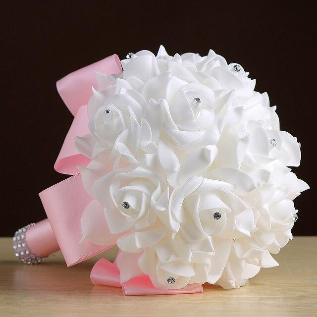 Свадебный Букет 2017 Искусственный Цветок Украшения Бусы Кристалл Шелковый Роуз аксессуары быстрая Доставка Свадебные Букеты