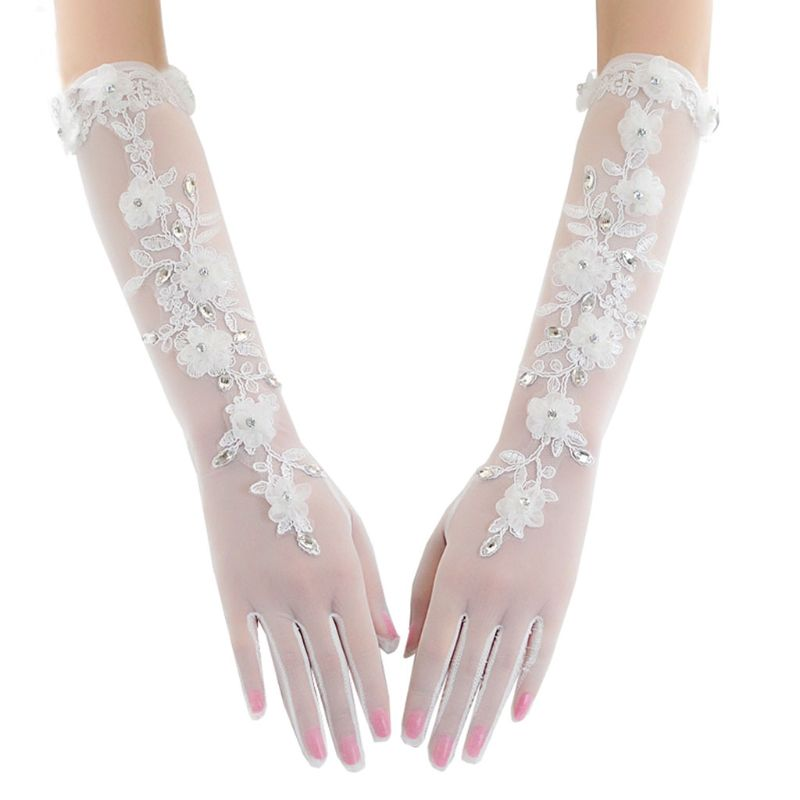 Elegant Lady Long Gloves Bridal Net Mesh Lace Flower Gloves Full Finger Wedding Dress Accessories