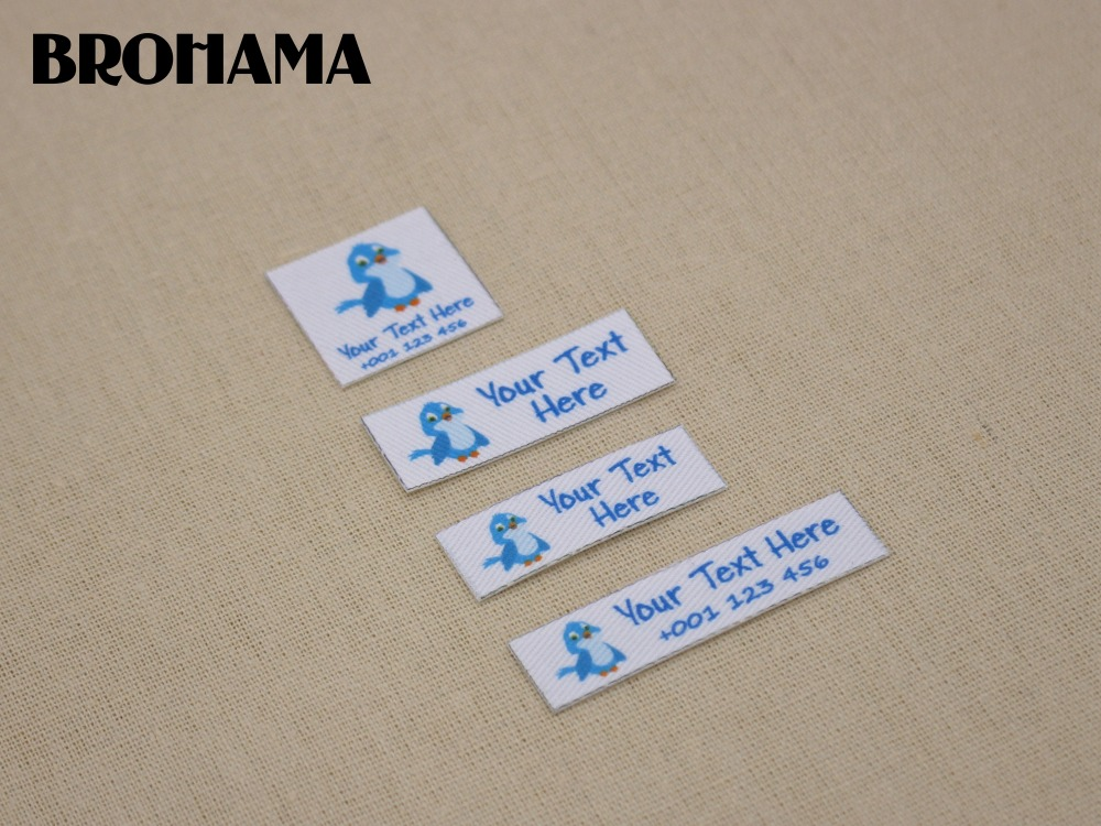 Custom name label, childrens clothing label, ironing label, boy and girl tag, Blue parrot label (L44)