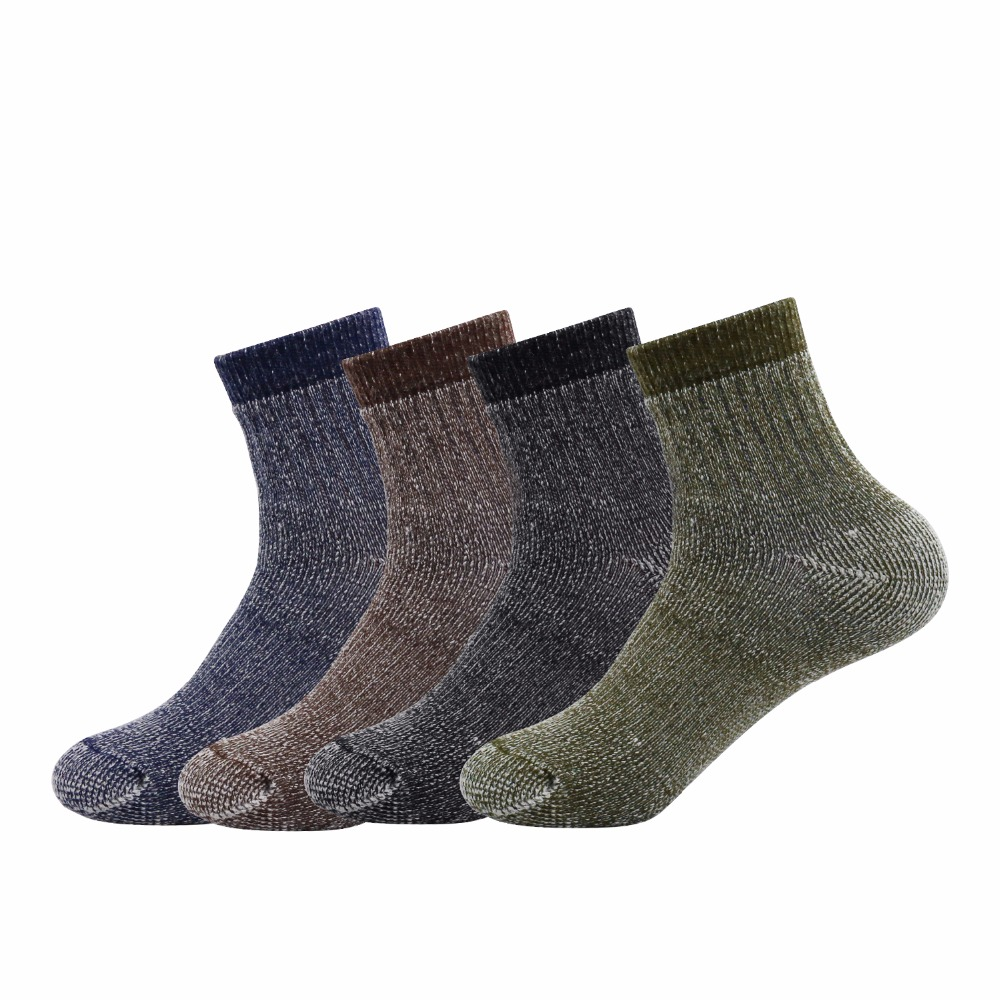 16Pairs/lot Mixed Color Men's Merino Wool Blend Socks- Vihir Thermal Steel Toe Winter Ankle Socks For Outdoor Skiing Hiking