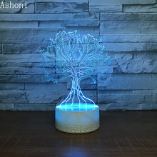 The Wishing Tree Shape 3D LED Night Light 7 Colors Change Desk Table Lamp Bedroom Lighting Fixture Home Decor Christmas Gifts 3d owl led desk table lamp night light 7 color change touch art home child bedroom sleeping decor fashion holiday party gifts