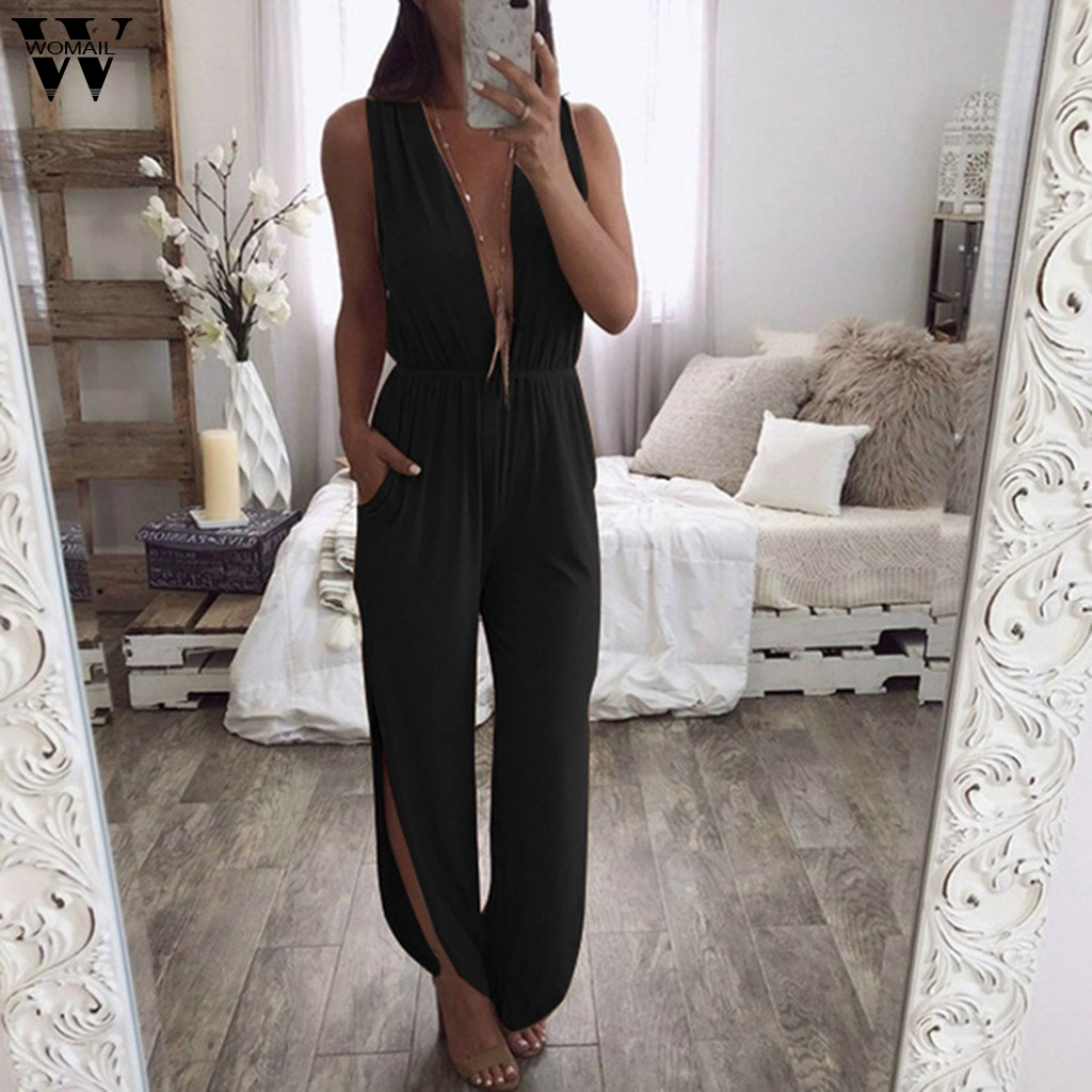 Womail Bodysuit Women Fashion Sleeveless Sex Solid Deep V-Neck Playsuit Long Jumpsuit Ladies Party Romper Vacation 2019 J612