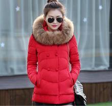 2015 Новый! зимние куртки женщин Средней Длины тонкий Большие воротники С Капюшоном хлопок пуховик Толстые теплые зимы Женщин пальто