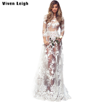 Spring Summer Evening Party Floor Length Dresses Womens Sexy Fashion See Through Mesh Floral Lace Long
