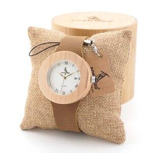 Image 2 - BOBO BIRD montres en bambou pour femmes, rondes de Sport, à Quartz, avec bracelet en cuir véritable