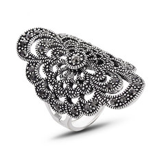 New Vintage Ring Antique SilverColor Jewelry Hollow Hlower Ring For Women Crystal Rhinestone Jewelry J02809 цена 2017