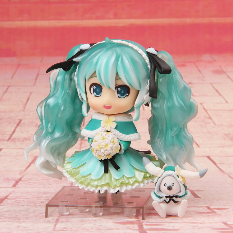 Anime Hatsune Miku Snow Miku 2015 Snow in Summer ver. 047 Nendoroid Doll PVC Action Figure Collectible Model Kids Toys 10CM nendoroid anime cute hatsune miku sakura kuma ver pvc figure collectible model toy doll 3 design pink blue