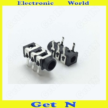 1000pcs   PJ-313 Headphone Socket 5DIP Connectors 3.5mm Audio Jacks Black Color
