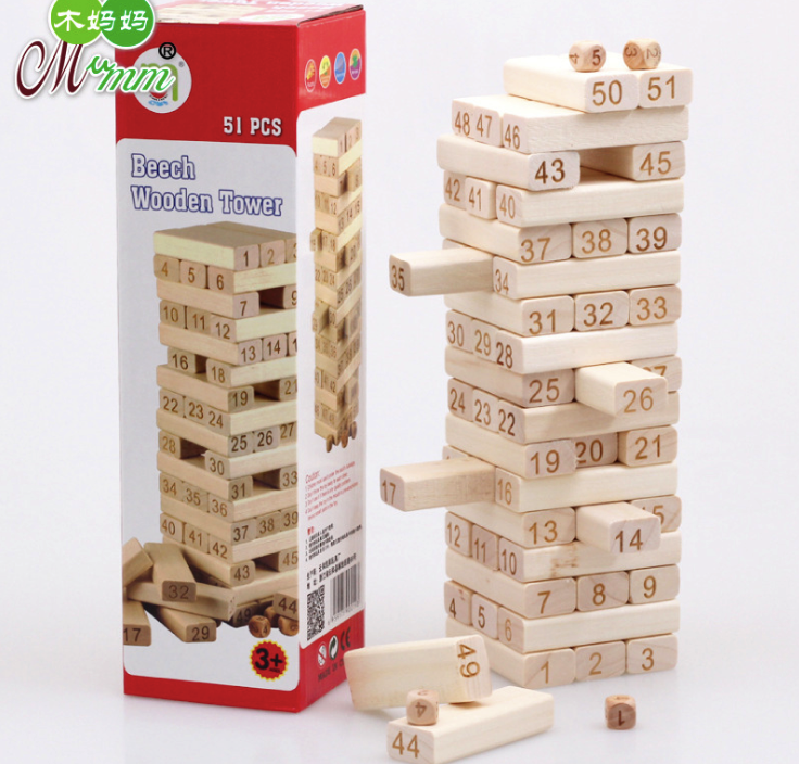 Beech Wooden Domino Tower 51pcs Blocks Early Interactive Children's Birthday Educational Intelligence Gifts Creative Plaything fancy 120pcs set wooden multi colors creative domino games toys rainbow wood domino blocks kids early educational wooden toys