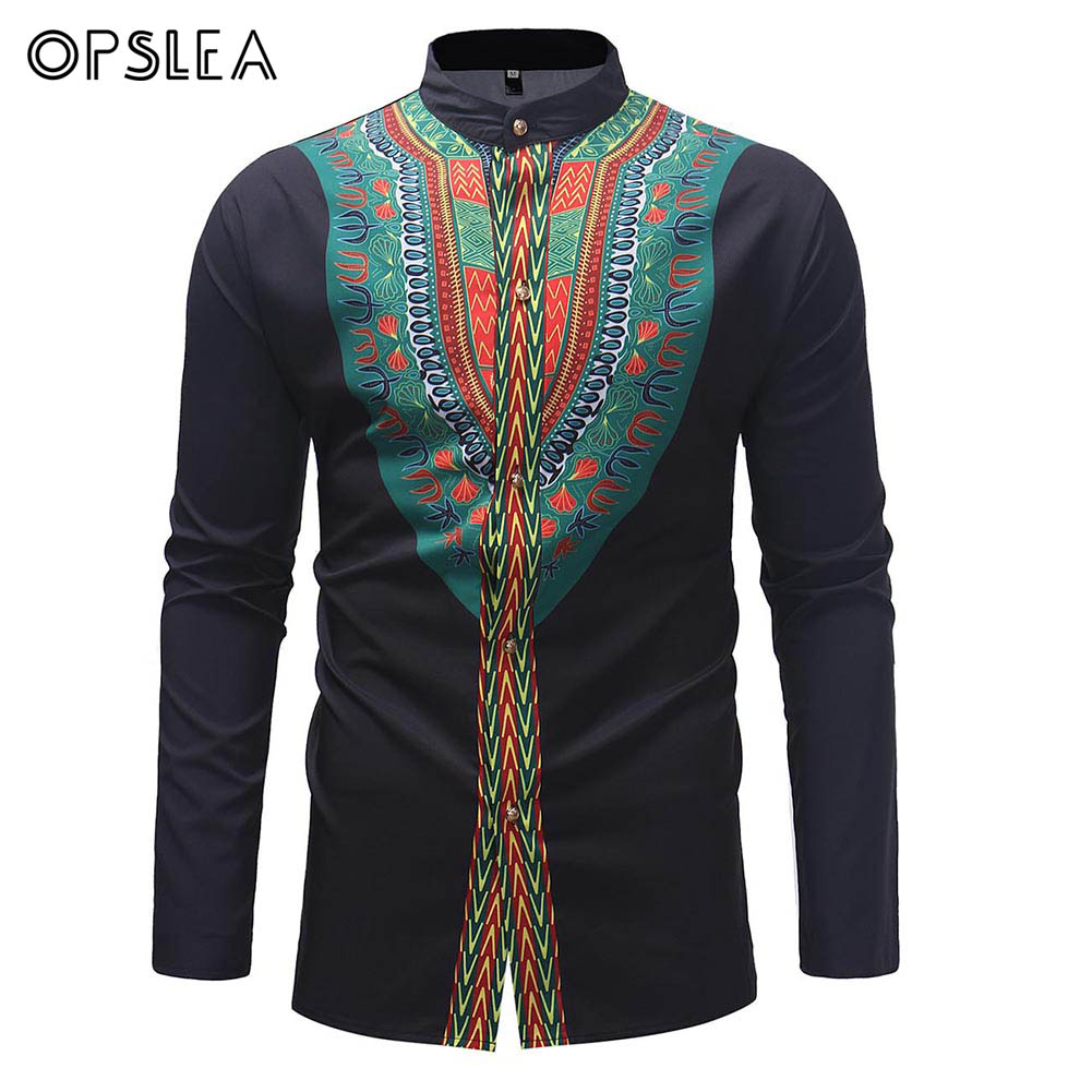 Opslea Dashiki African Men Ethnic Print Long Sleeve Button Top Traditional Tribal Stand Collar Shirt 2019 New Casual Black Shirt