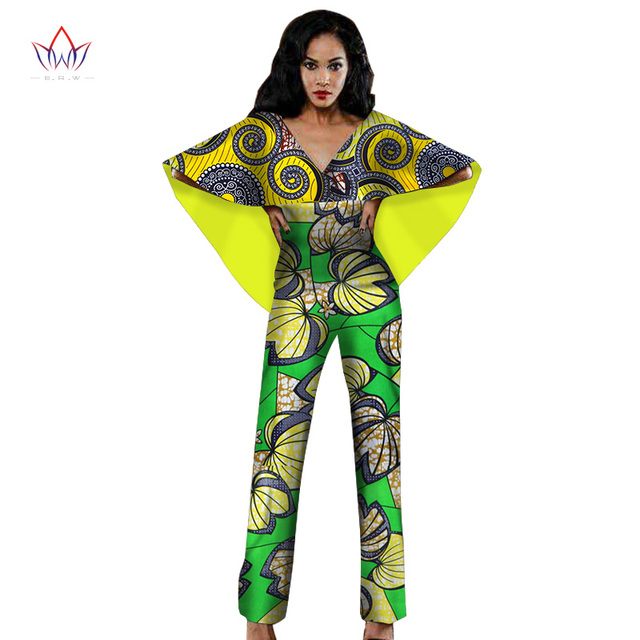 BRW New African Clothes Bodysuit Women African Clothing Long Pants Rompers Jumpsuit Bazin Riche African Clothes for Women WY1405