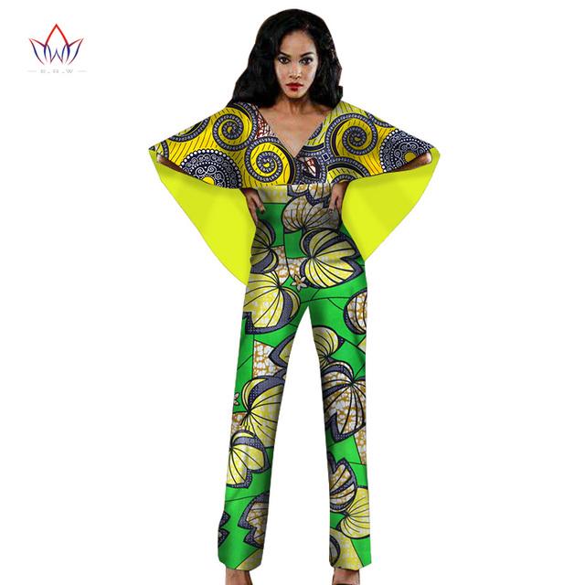 BRW Nova Africano Roupas Roupas Calças Compridas Rompers Jumpsuit Bodysuit Mulheres Africano Roupas Bazin Riche Africano para As Mulheres WY1405