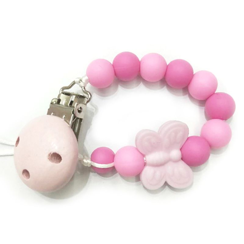 Cute Baby Pacifier Chain Clip Child Bead Silicone Nipple Chains Strap New Holder Newborn Appease Supplies
