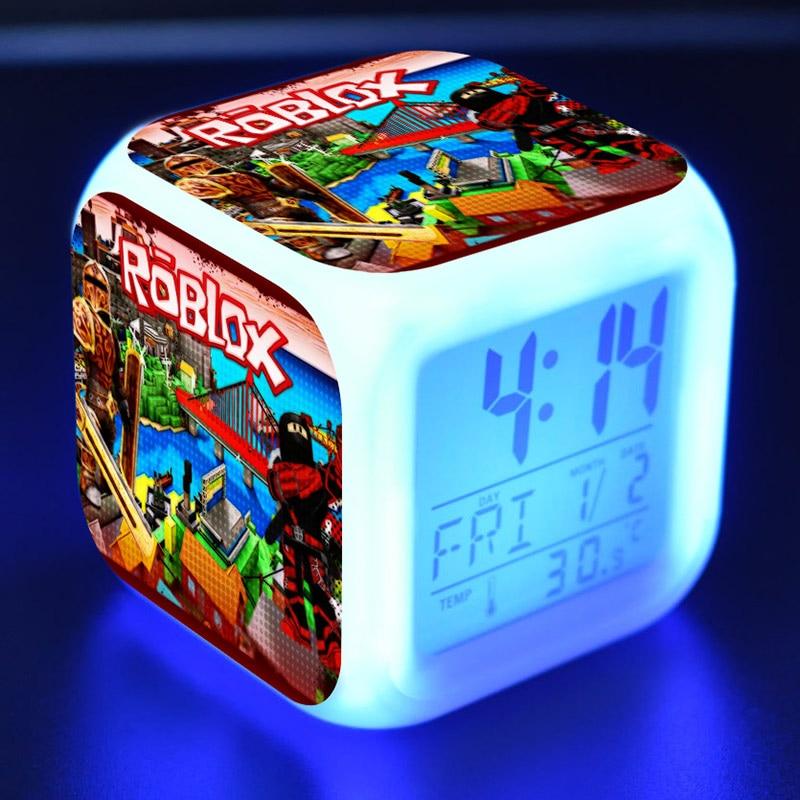 Roblox Spielzeug Abbildung LED Wecker Bunte Touch Flash licht Amin Figuras Desktop Dekoration